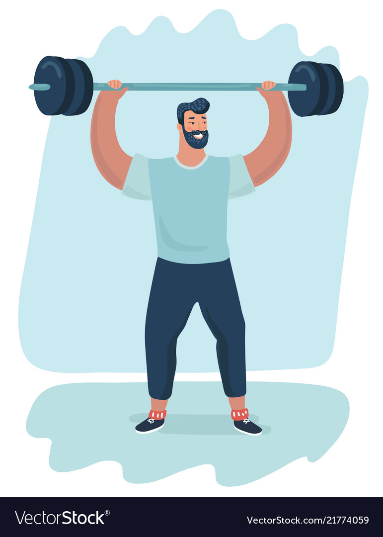 A handsome man lifting a barbell