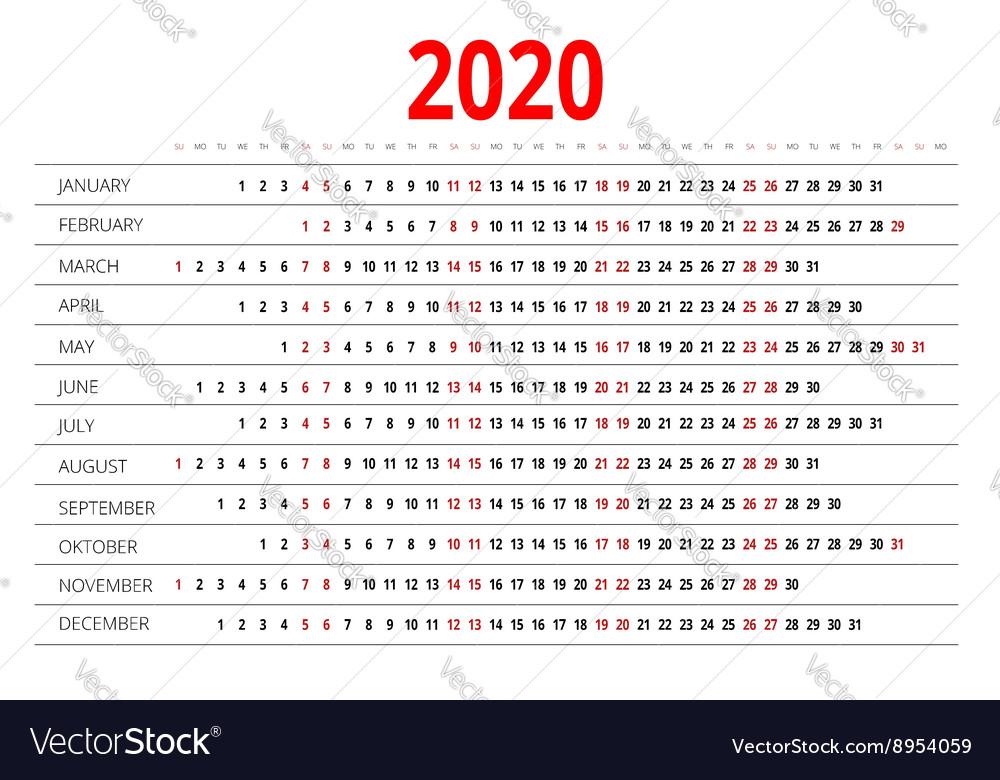 Calendario 2020 Editable Illustrator.Calendar For 2020