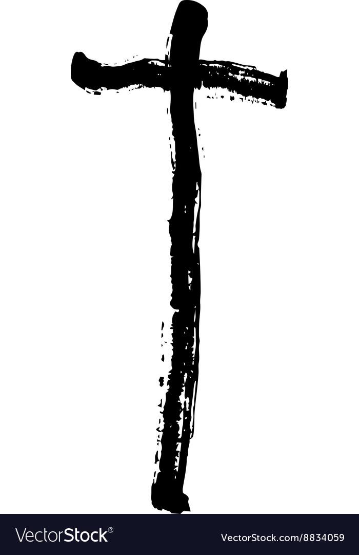Christian Cross Grunge Religion Symbol Royalty Free Vector