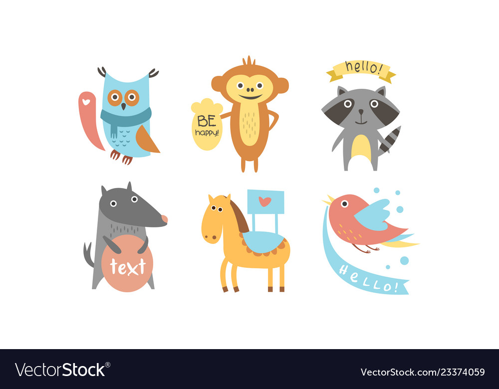 Cute animals with banners set owl raccoon