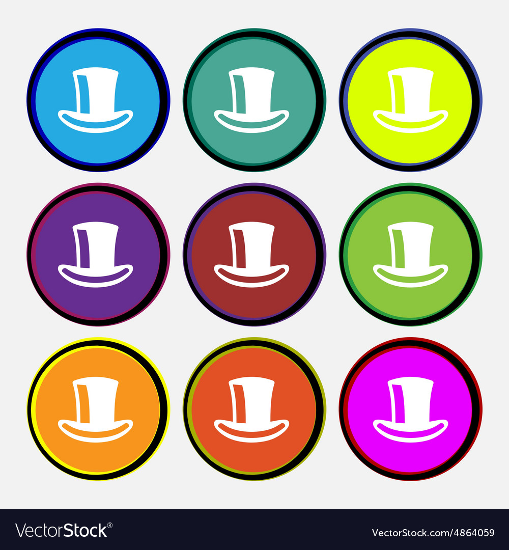 Cylinder hat icon sign Nine multi-colored round vector image