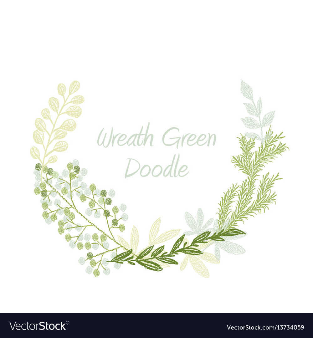Green doodle hand drawn leaves and grass wreath