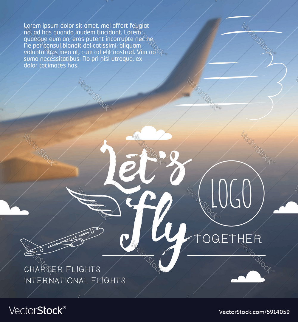 Lets fly typographic airline poster