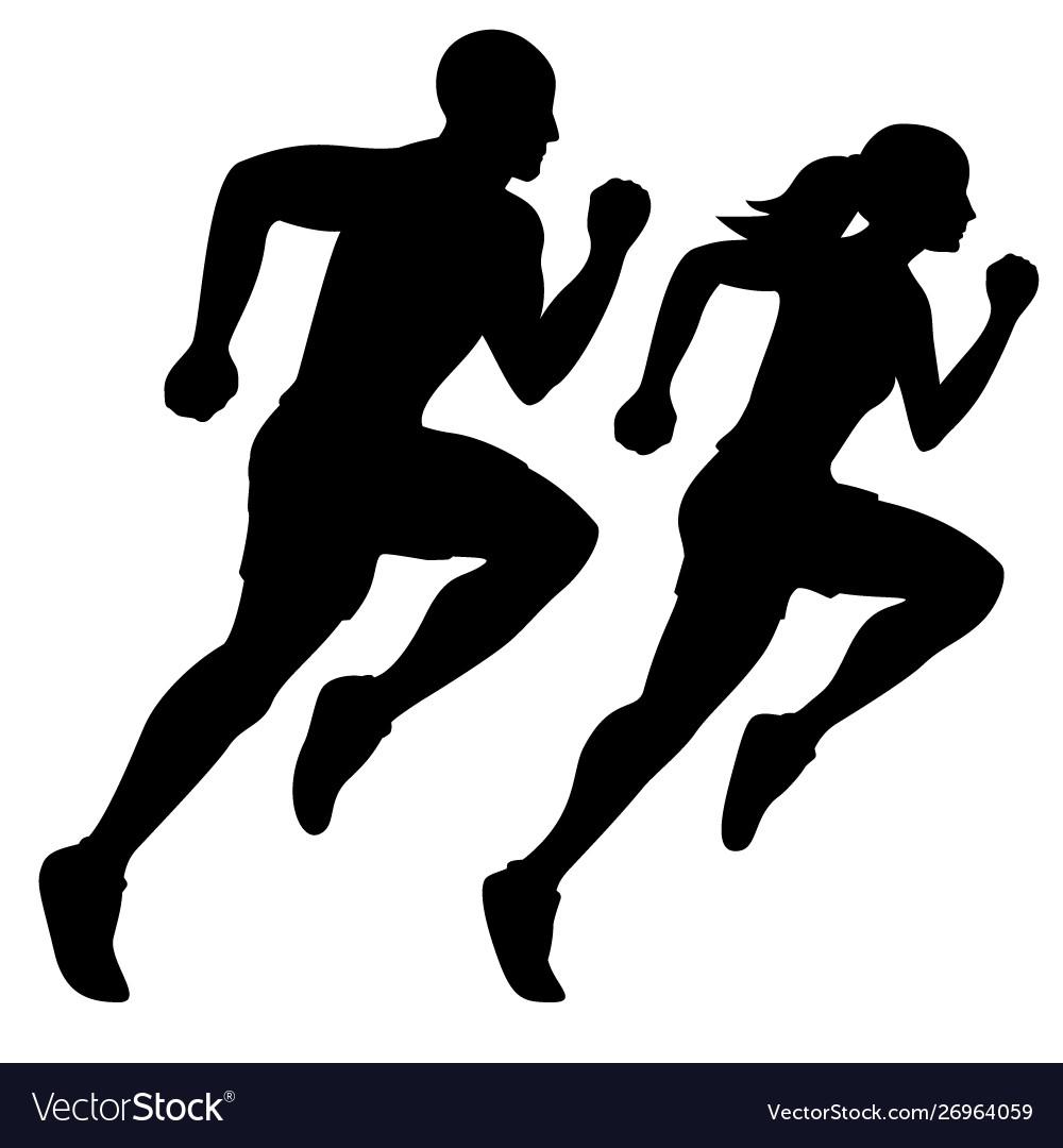 Male runner and female runner silhouette