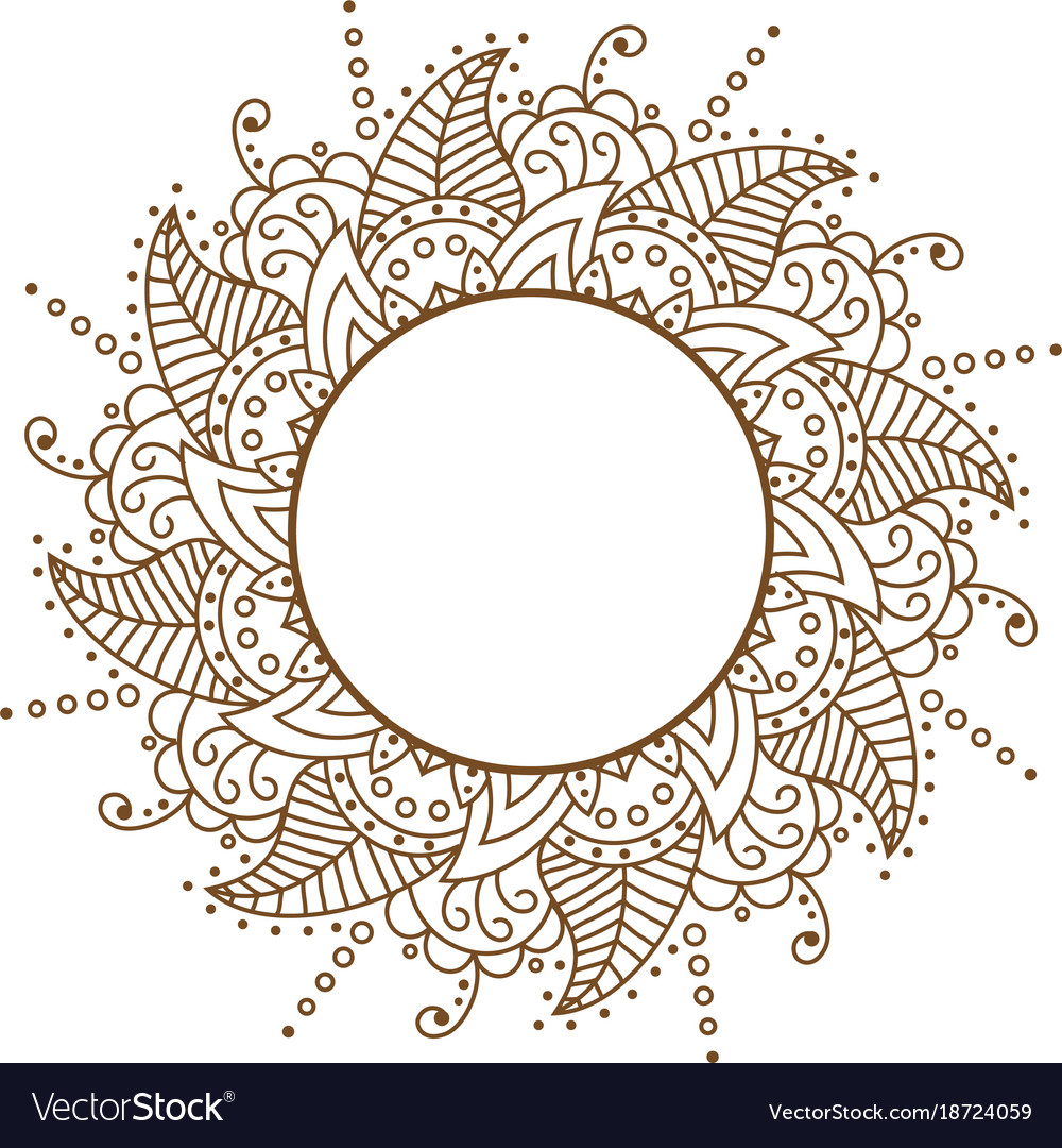 Openwork cloth brown round frame brown Royalty Free Vector