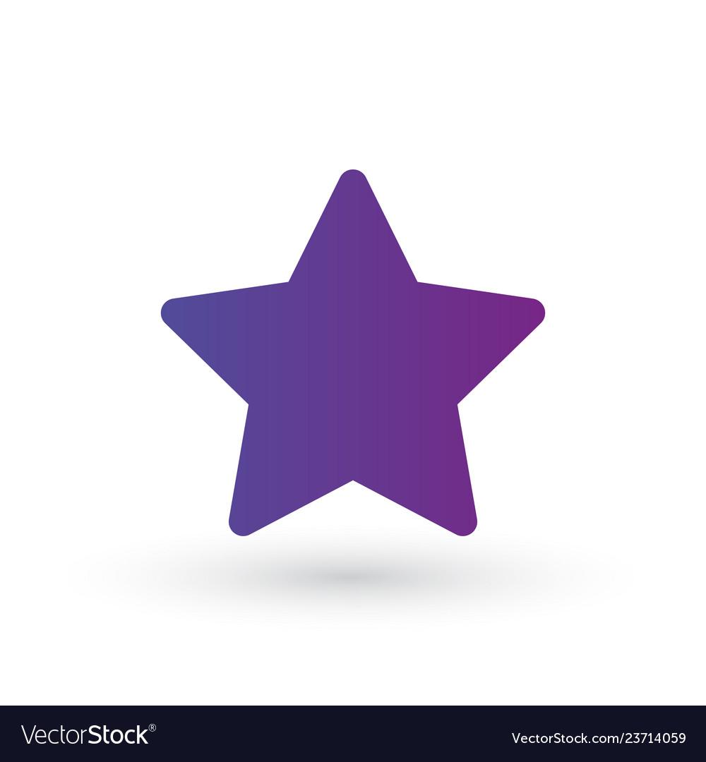 Purple gradient star icon favorite logo isolated