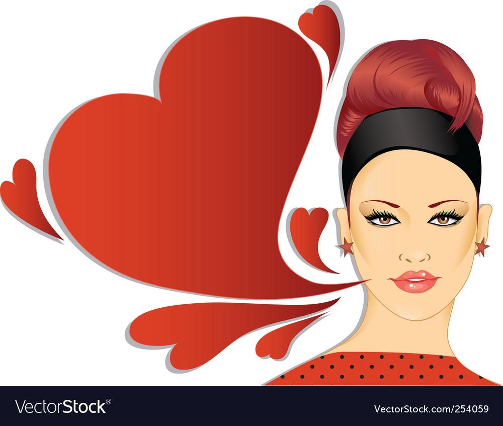 Retro woman with speech bubble vector image