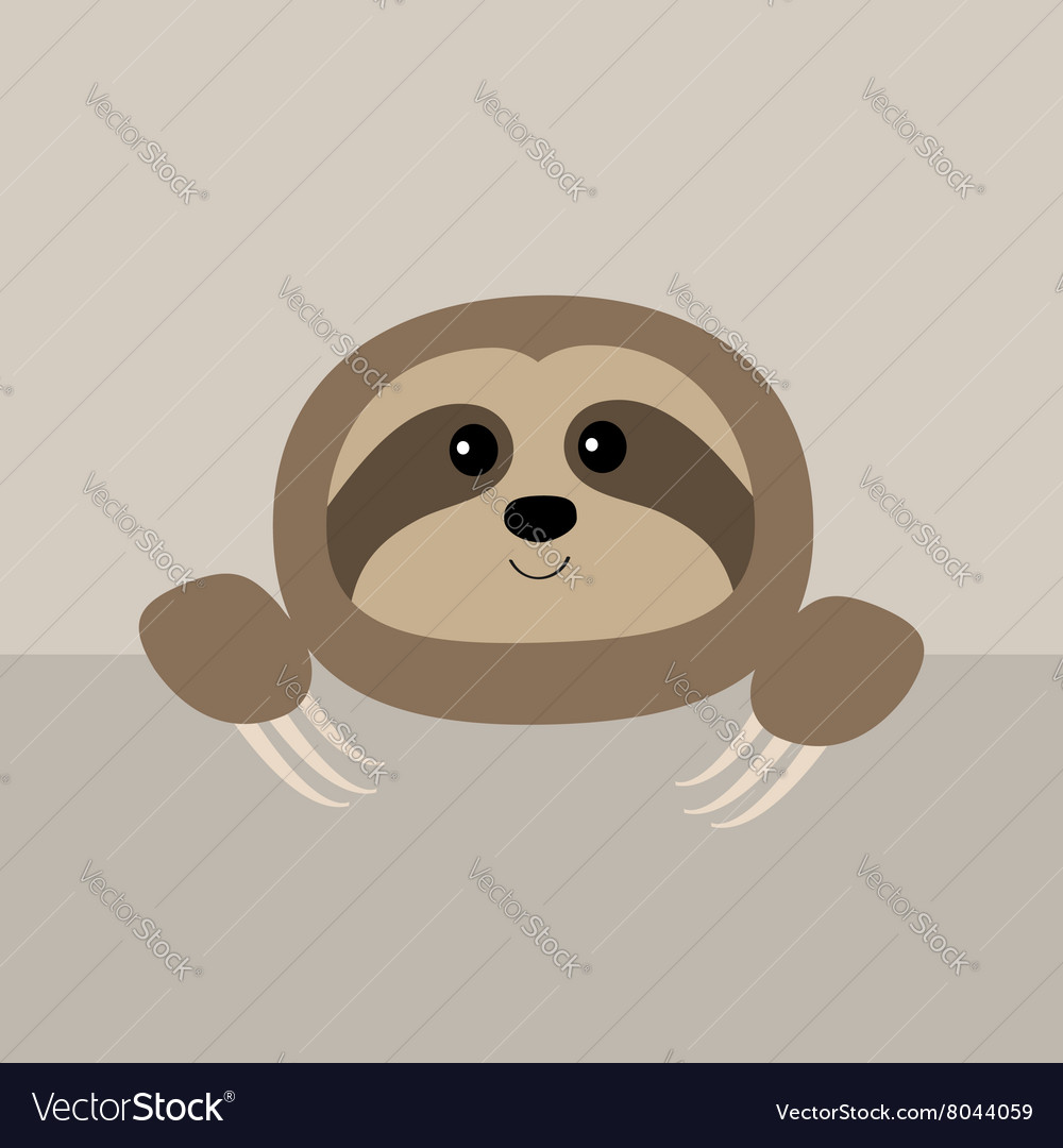 Sloth face and hands Cute cartoon character Wild