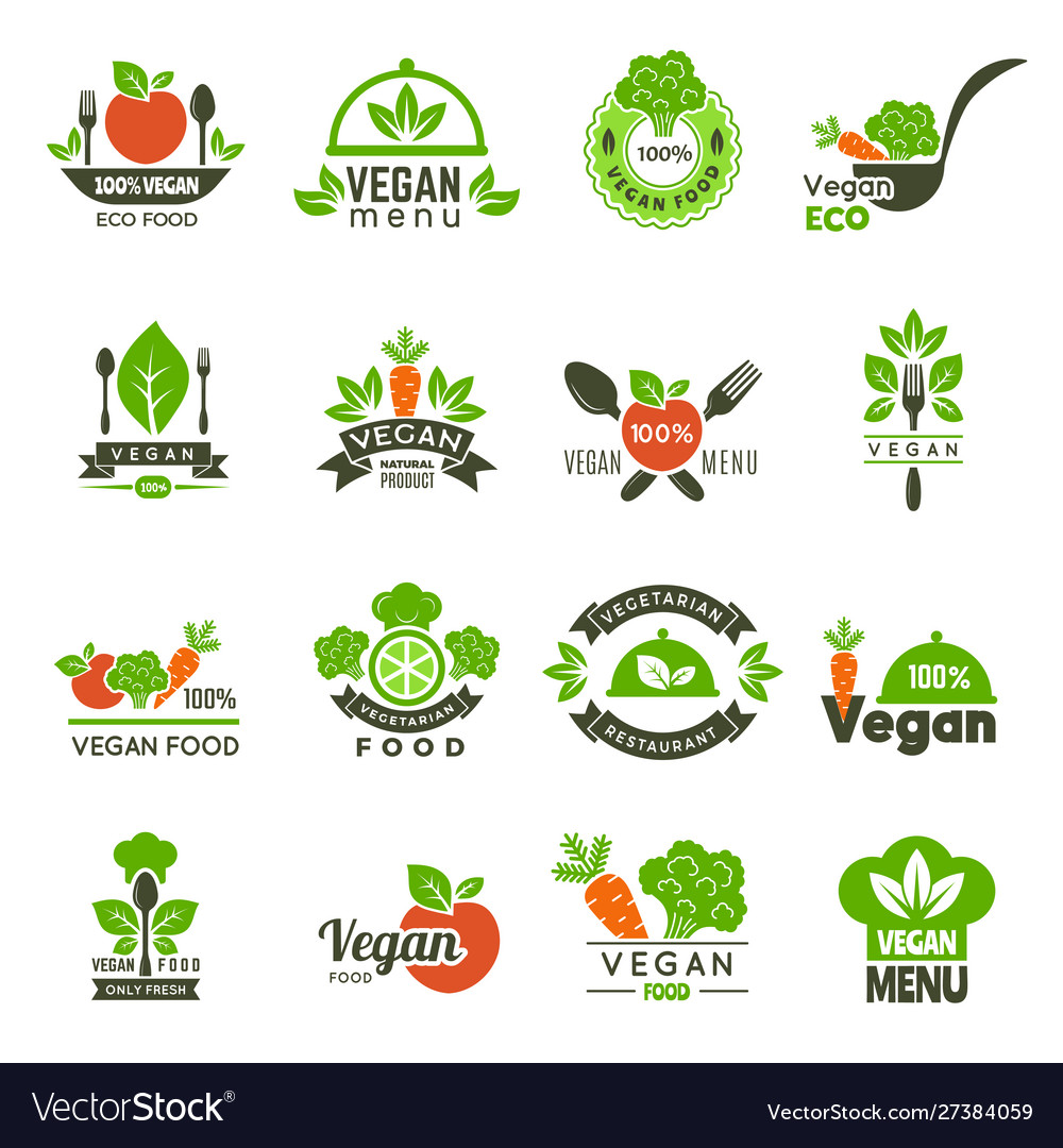 Vegan emblem fresh eco healthy food market