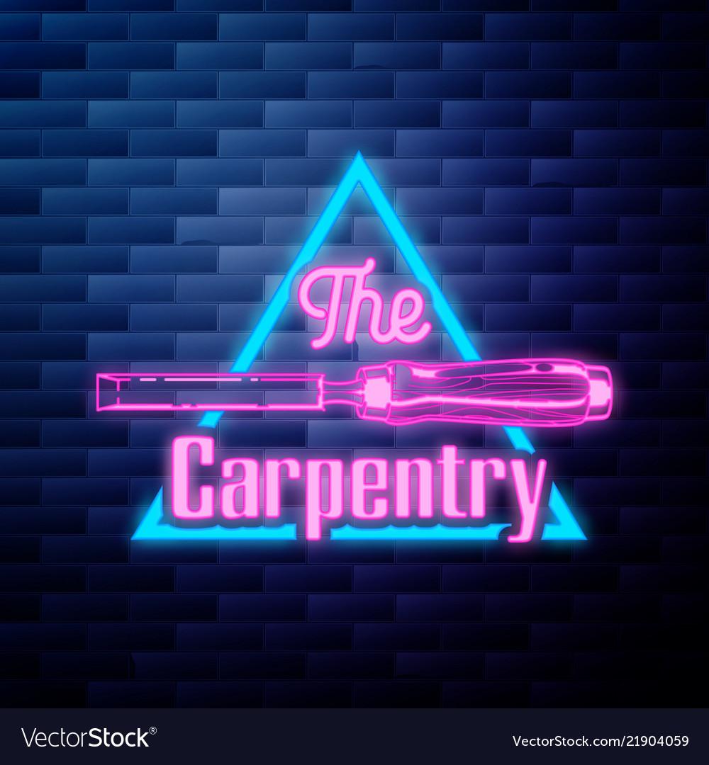 Vintage carpenter emblem glowing neon sign on