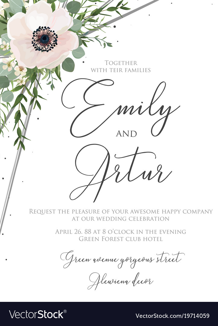 Wedding floral watercolor style invite card design