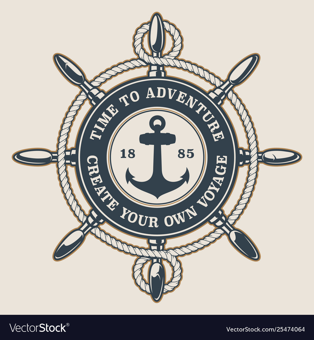 Badge with ships wheel and anchor