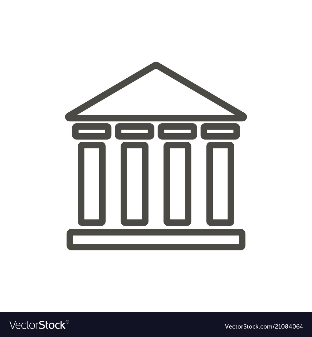 Bank icon outline institute building line