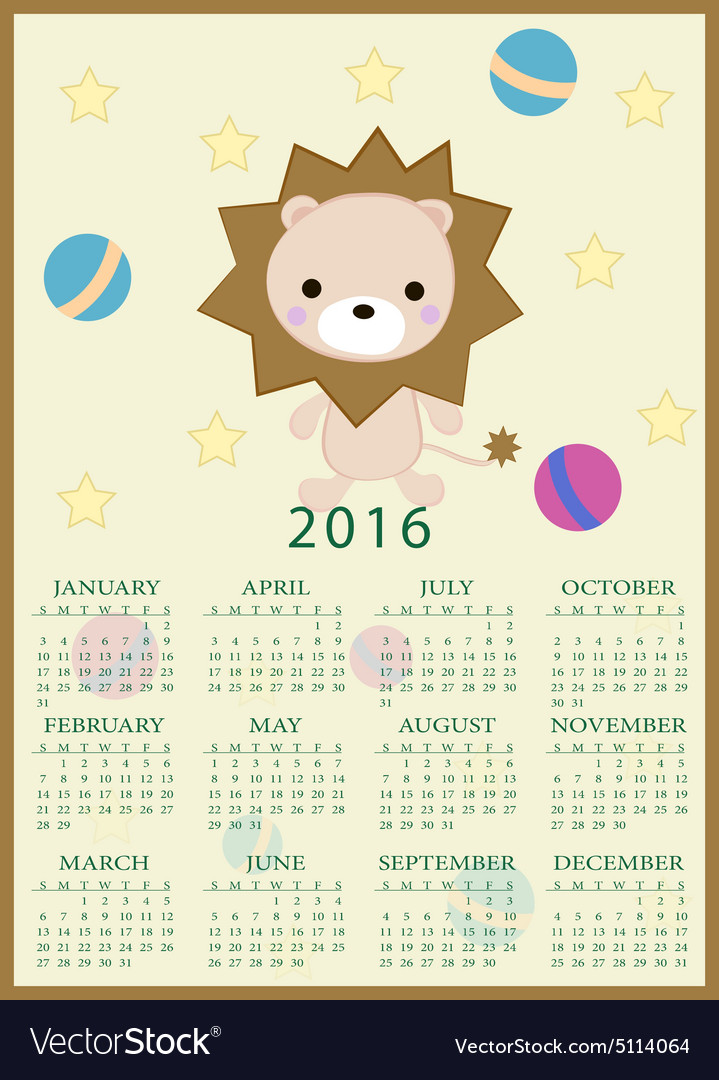 Calendar for 2016 with cartoon and funny lion toy