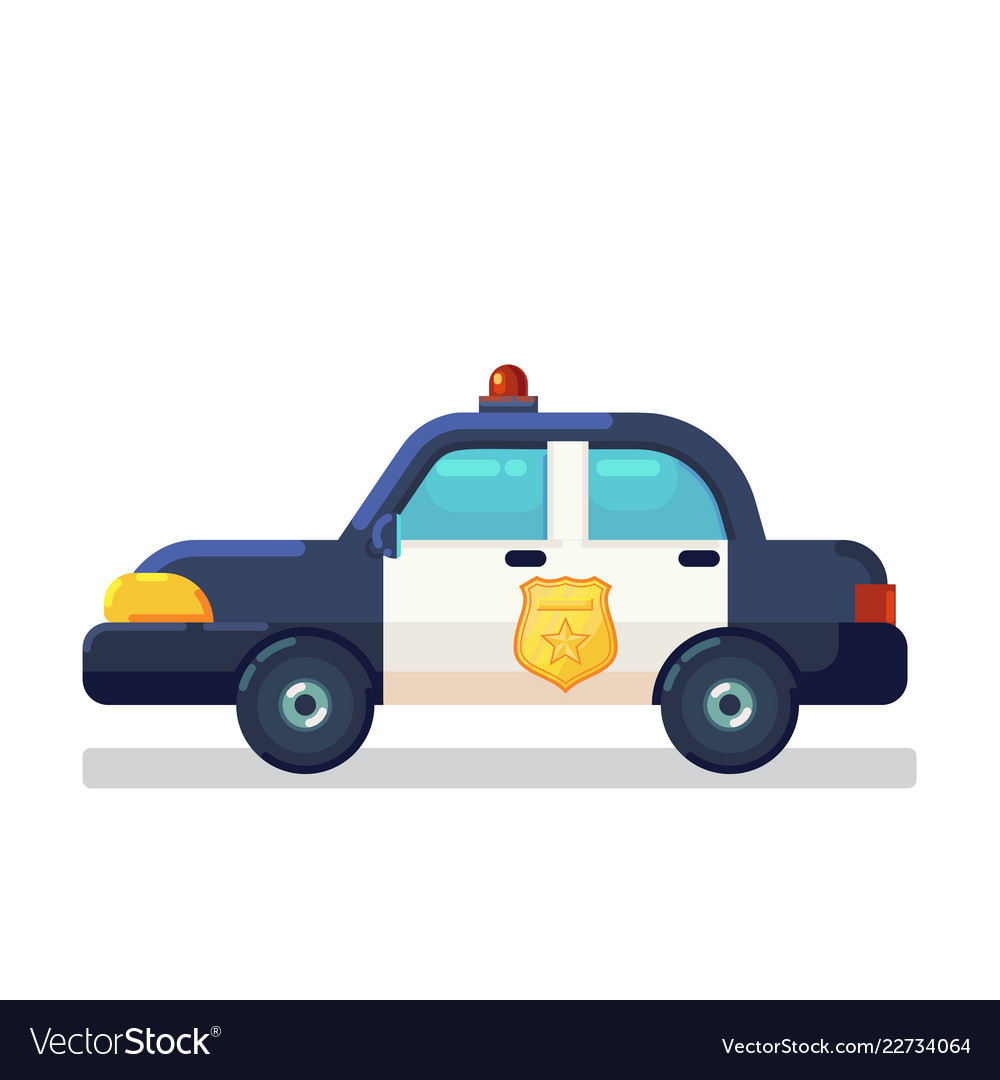 Car icon stock flat police