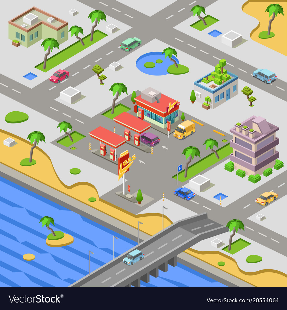 Gas station in city map isometric 3d