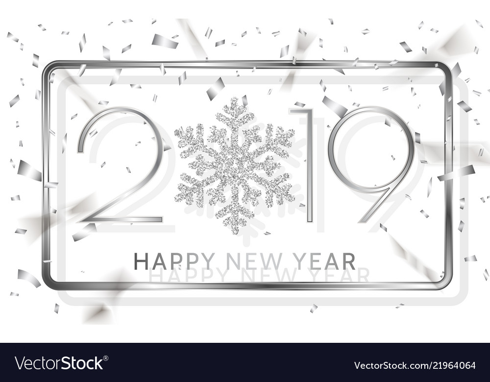 Happy new year 2019 silver numbers with ribbons