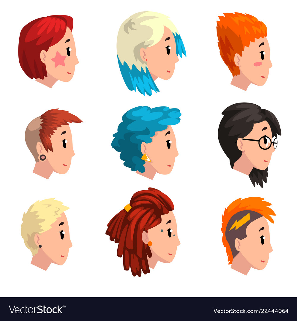 head of girls with fashion hairstyles set profile vector image