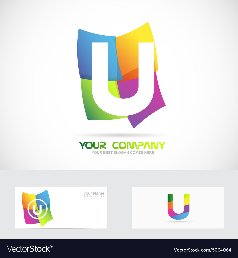 Letter U colored logo vector image