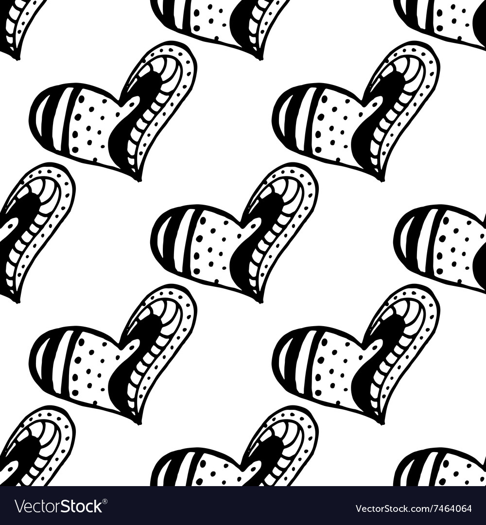 Seamless pattern with the hand drawn ink doodle