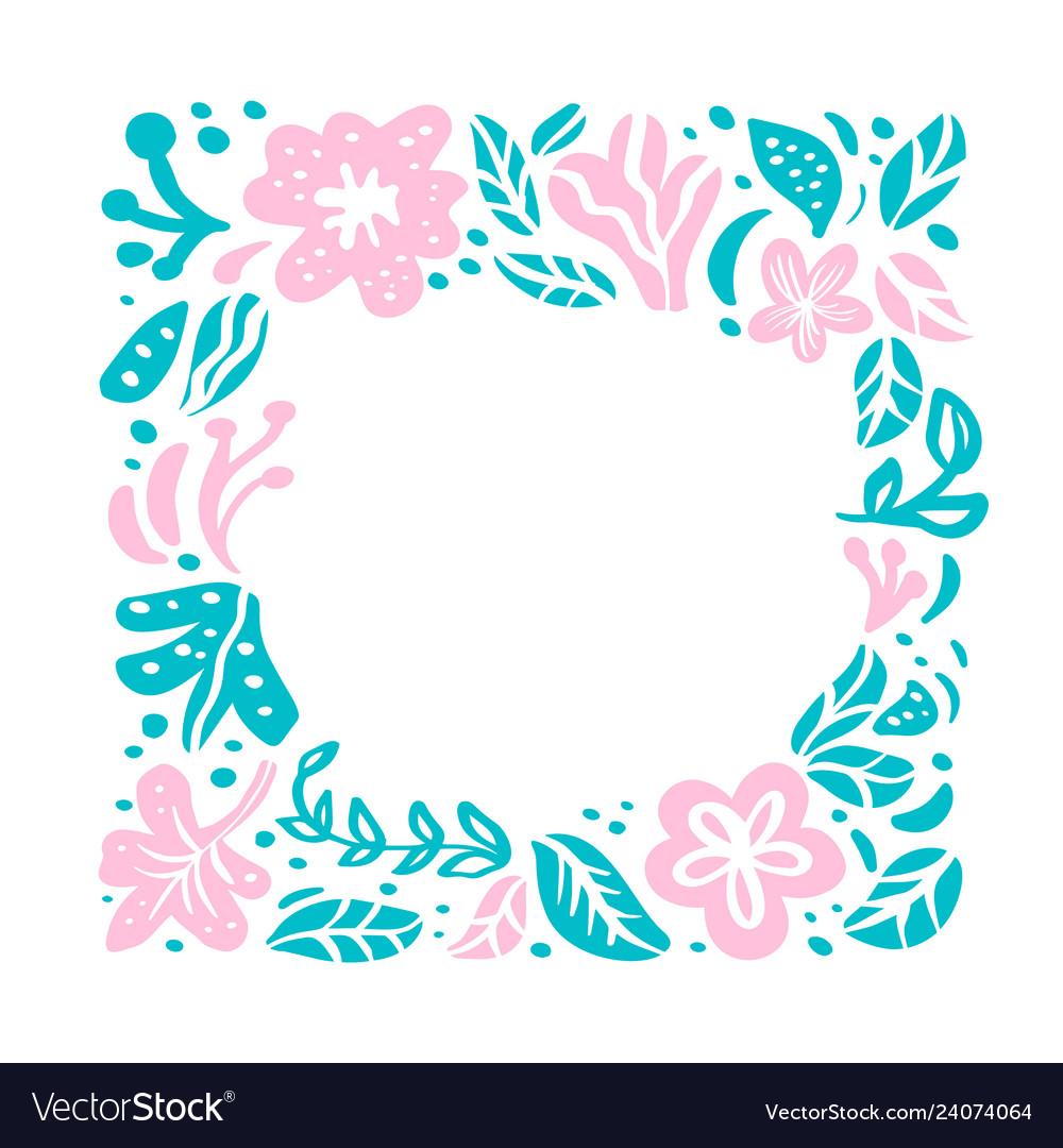Summer floral frame tropical composition