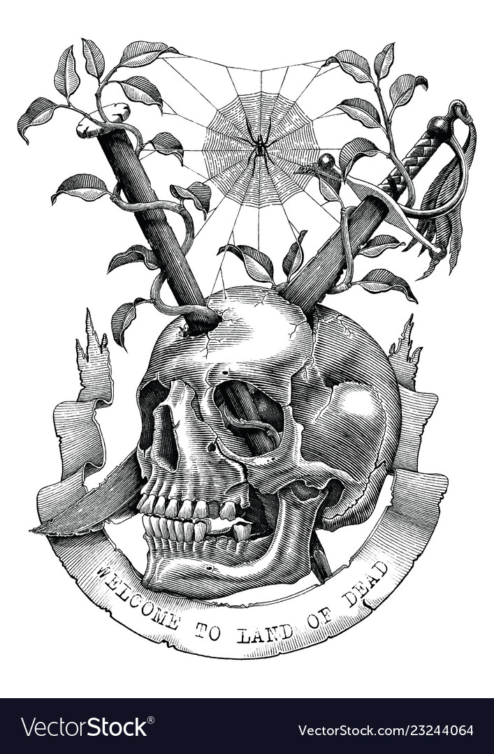 Swords and nails are inserted into skull in
