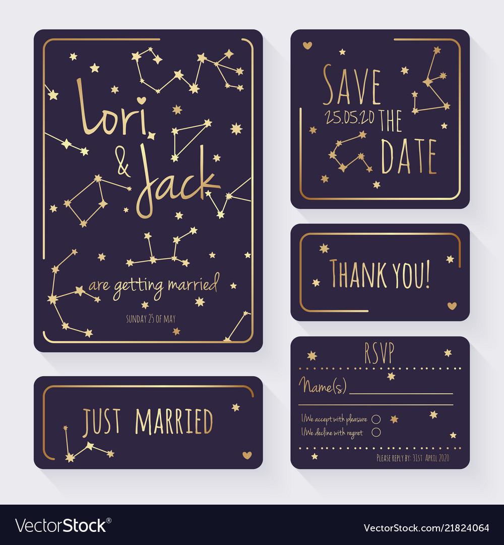 Wedding invitation card set thank you save the