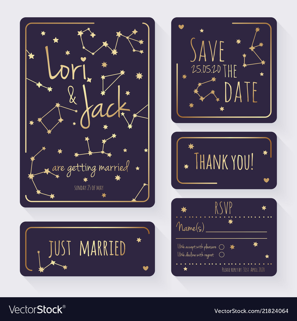 Wedding invitation card set thank you save vector