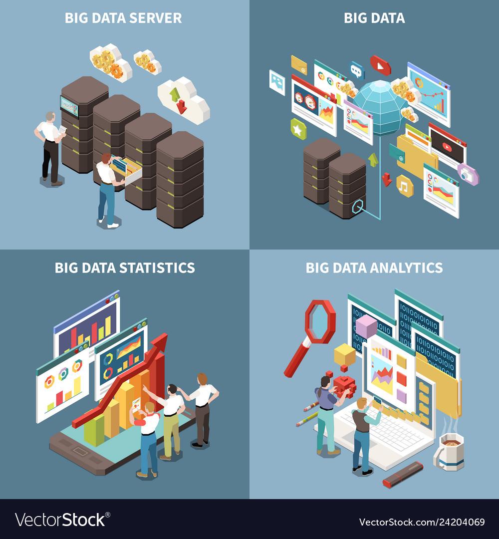Big data analytics isometric icon set