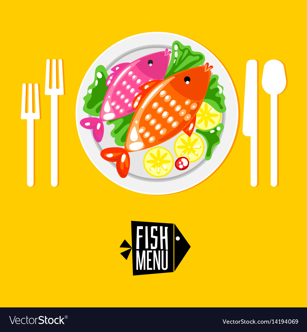 Cartoone fish menu with icon