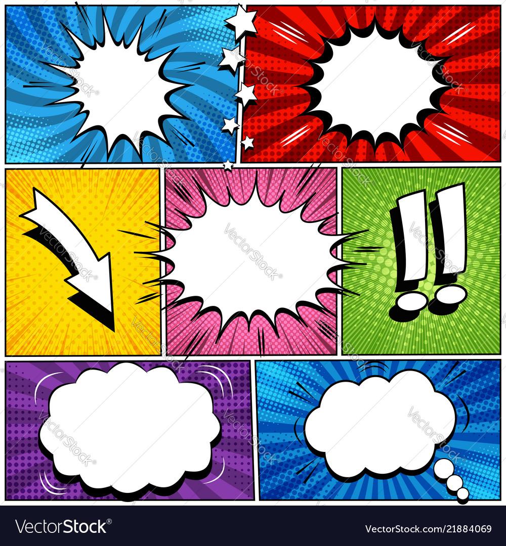 Comic book page speech bubbles set
