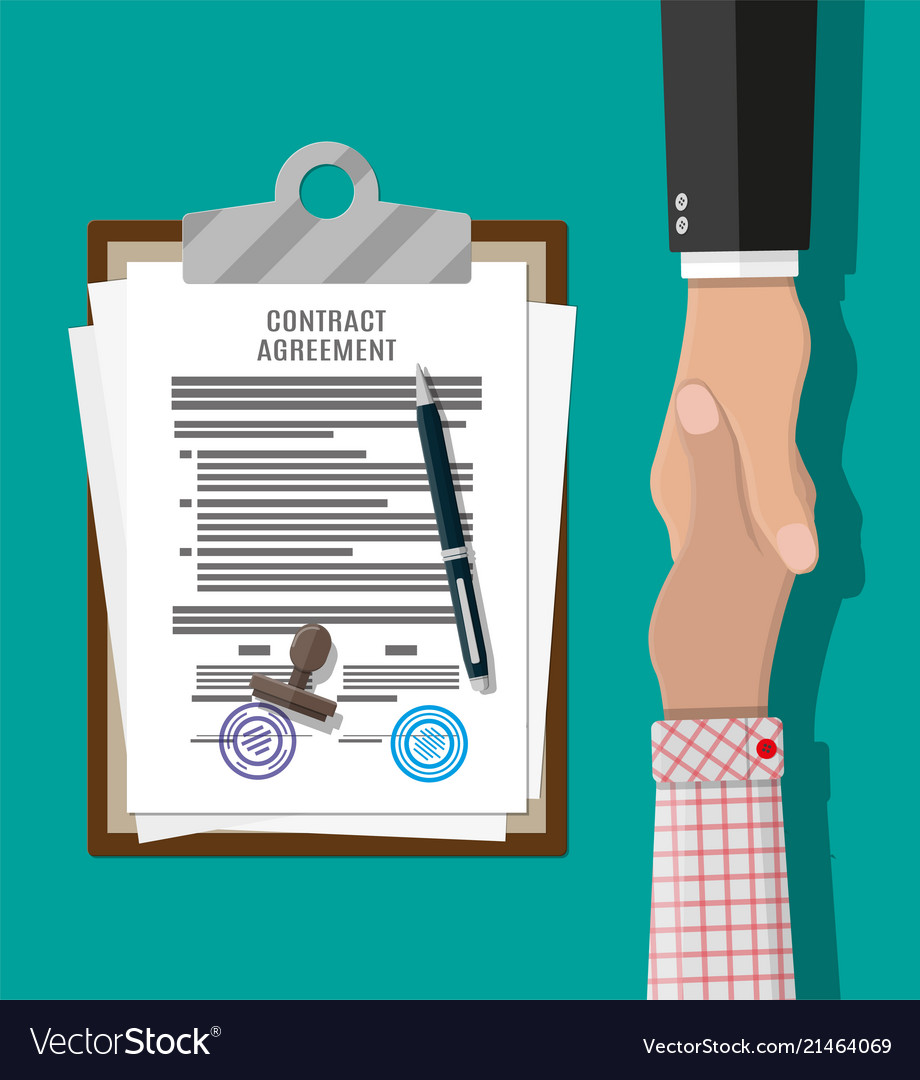 Contract agreement paper and handshake