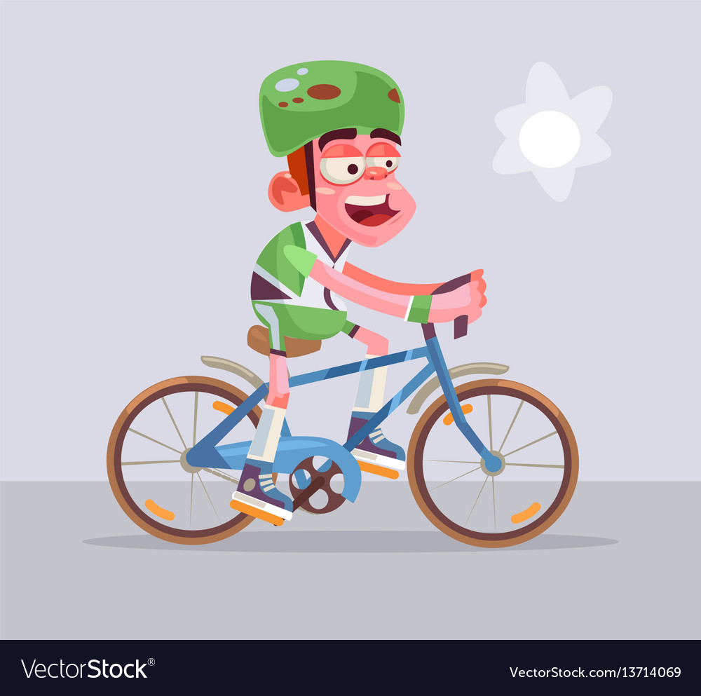 Cyclist man character rides vector image