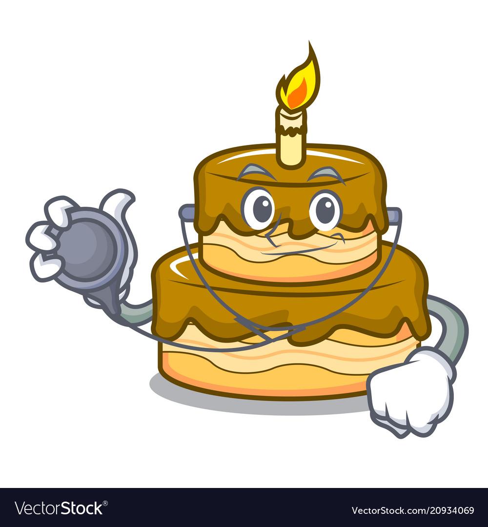 Doctor Birthday Cake Character Cartoon Vector Image