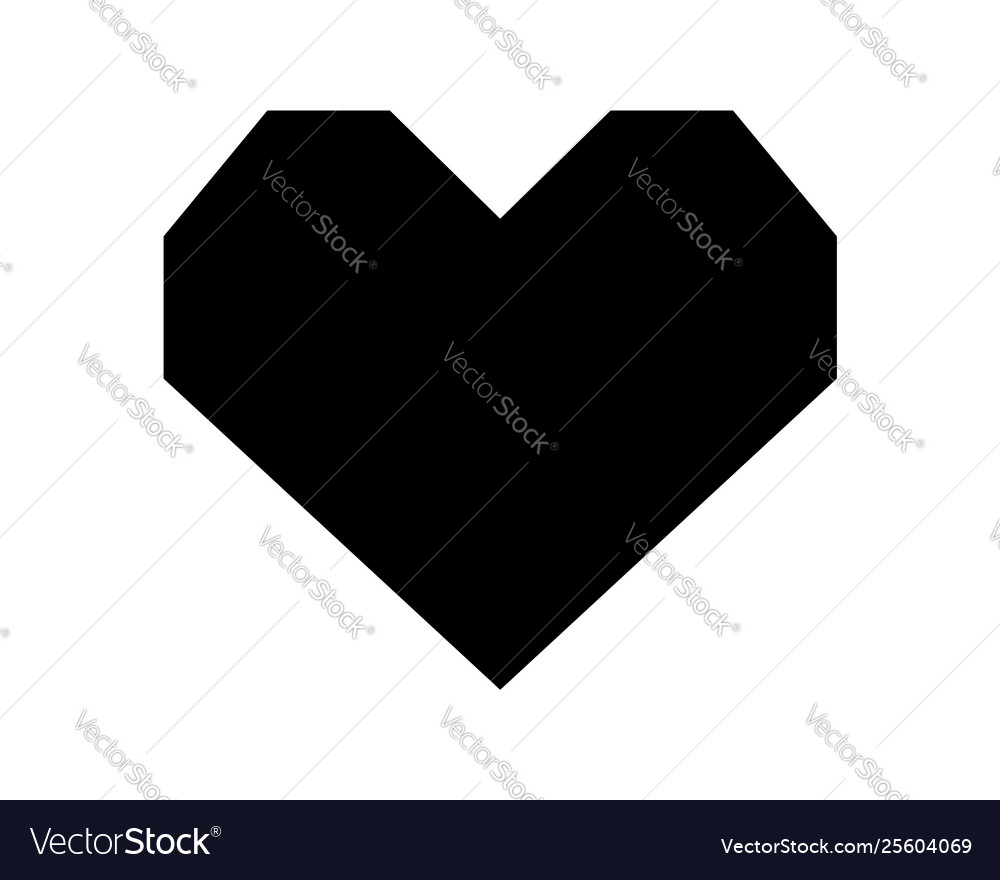 Love heart icon black silhouette isolated on