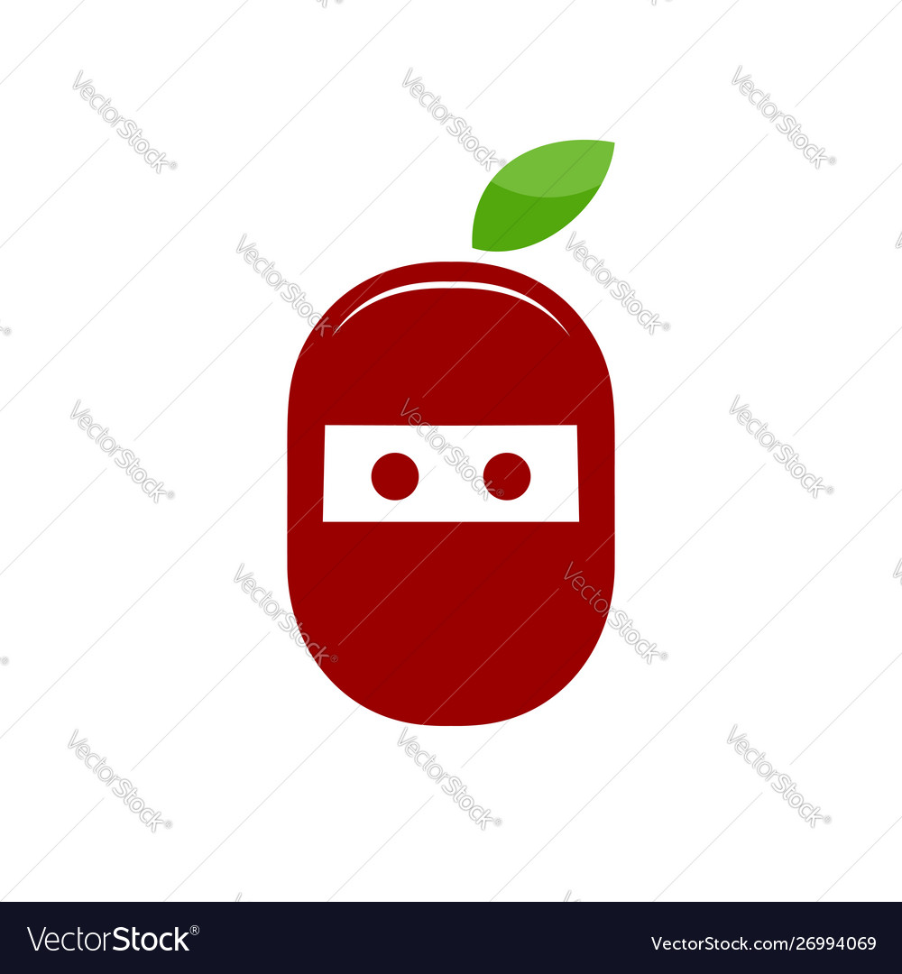 Ninja cherry fresh fruit symbol design