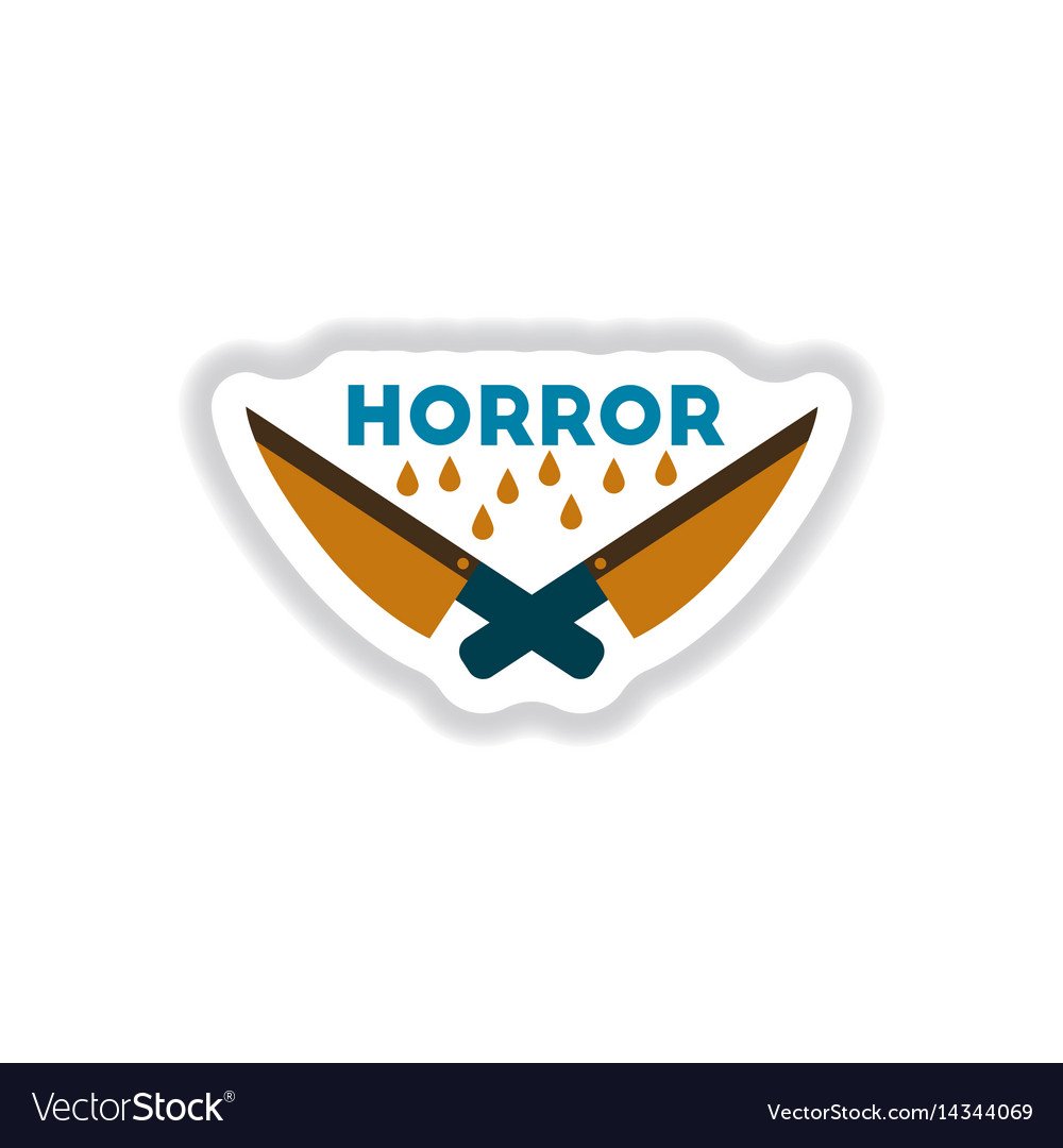 Paper sticker on background of knives horror