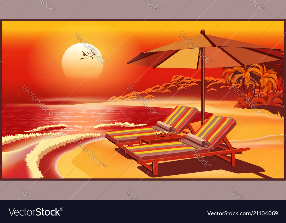 Picturesque beach umbrella and deck chairs at