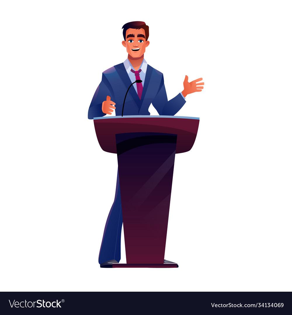 Politician at podium tribune speaks microphone