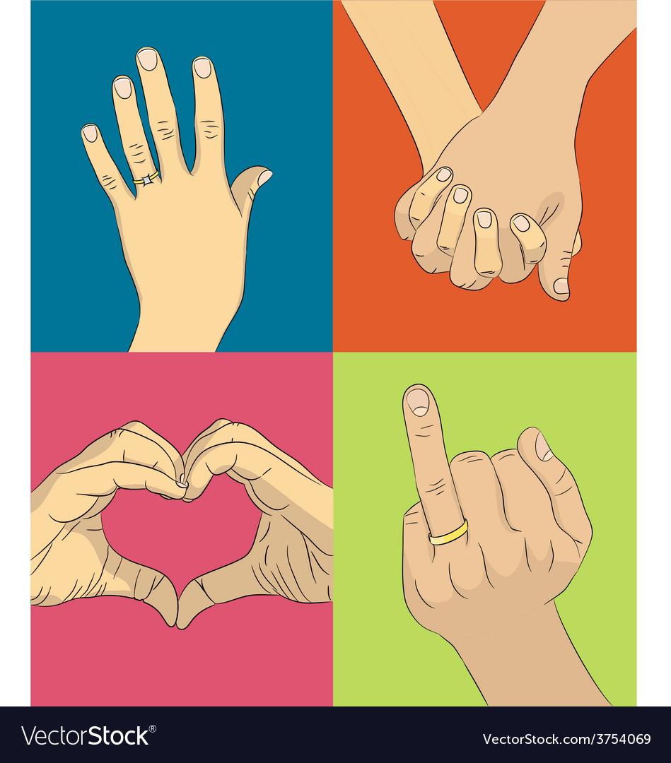 Wedding hands vector image