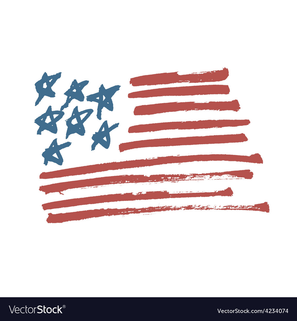 American flag calligraphy vector image