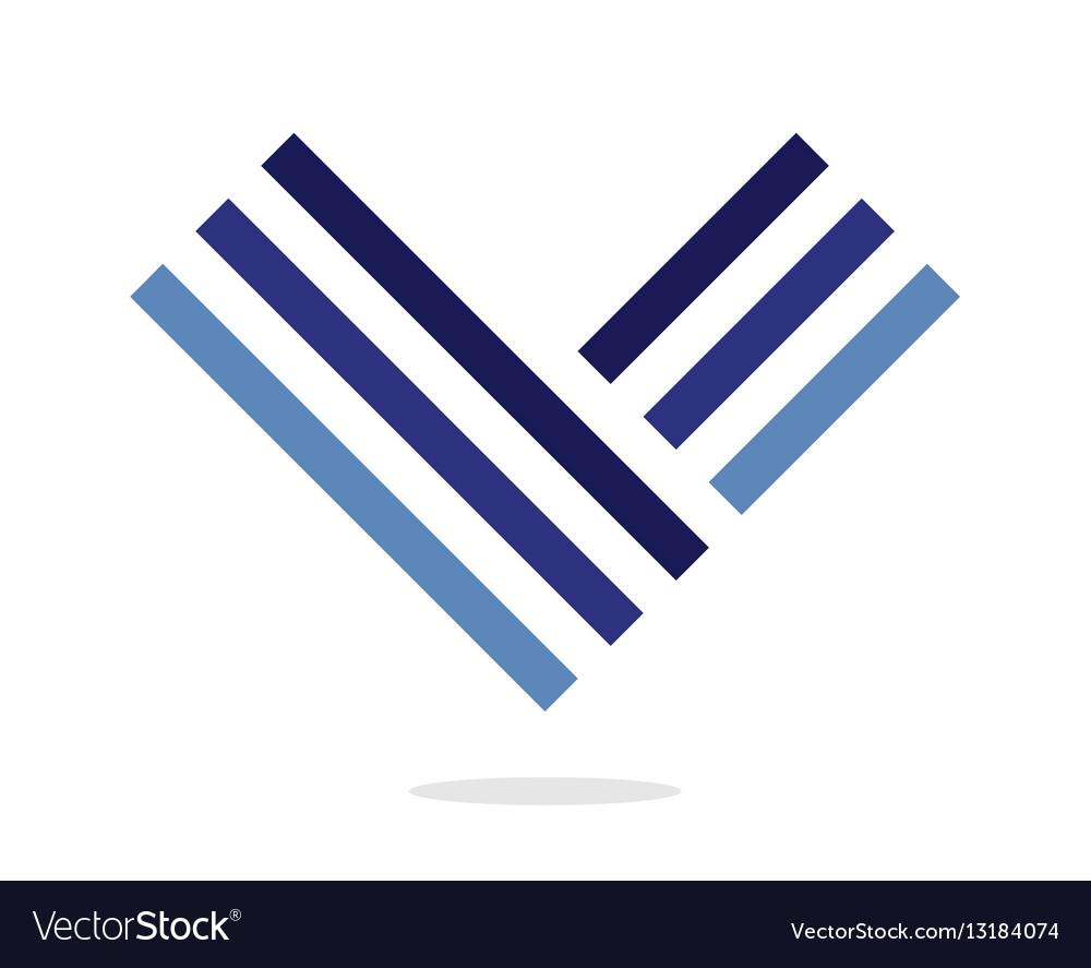Blue letter V logo Design element Isolated on