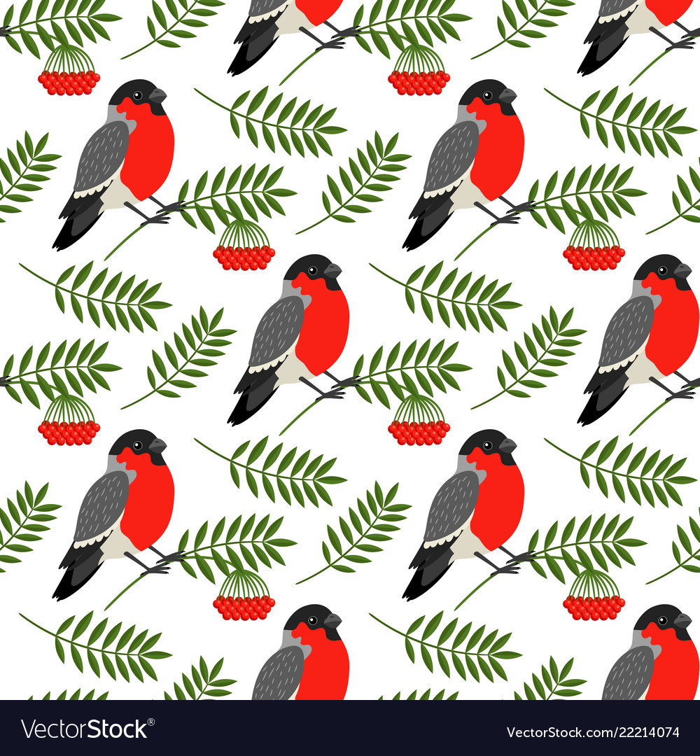 Bullfinch and rowan berries pattern