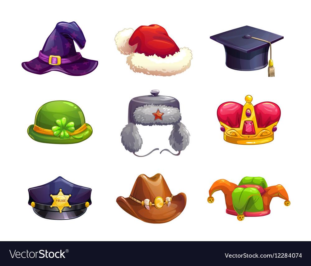 Cartoon different hat icons set