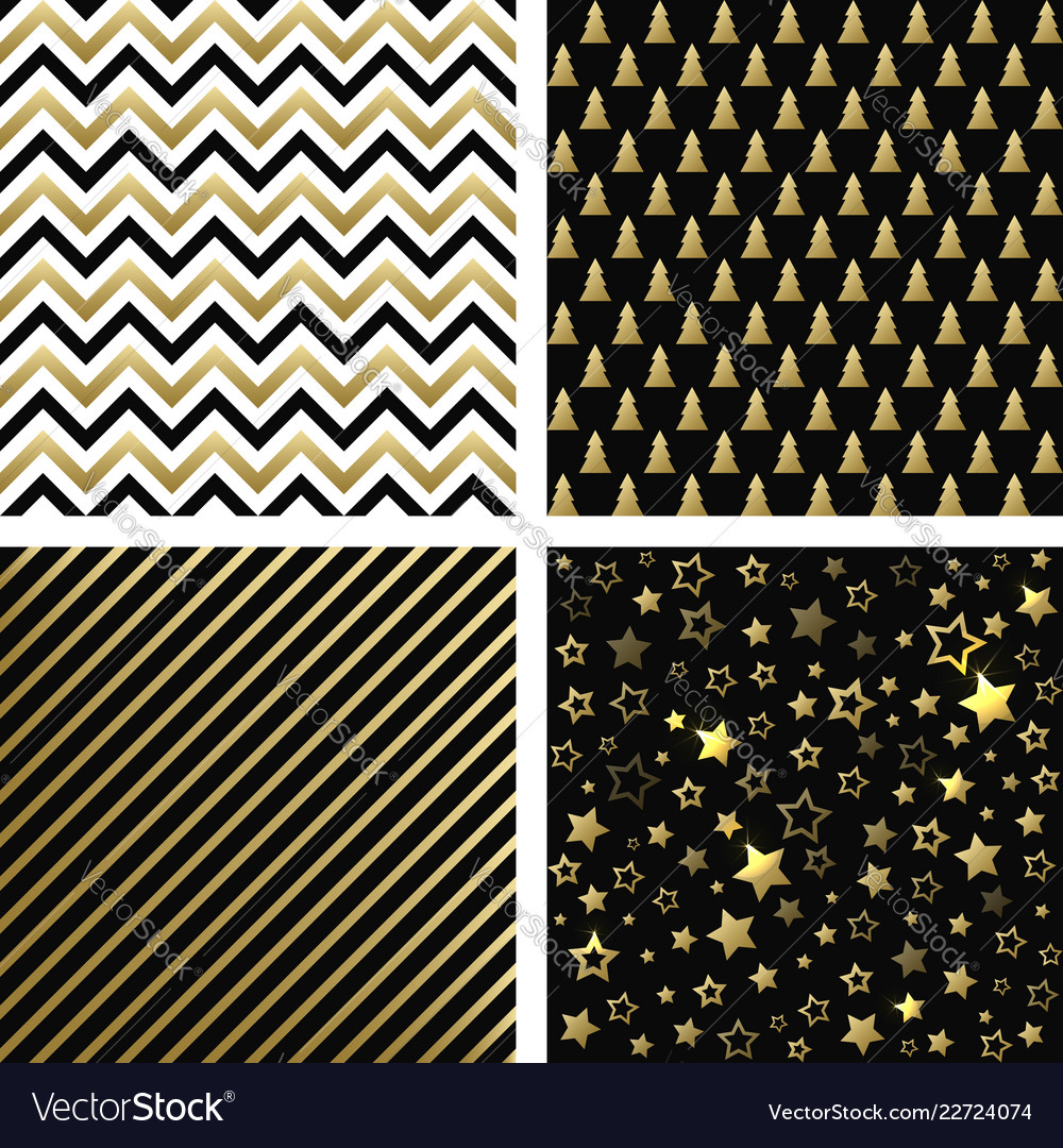 Christmas black and gold seamless patterns