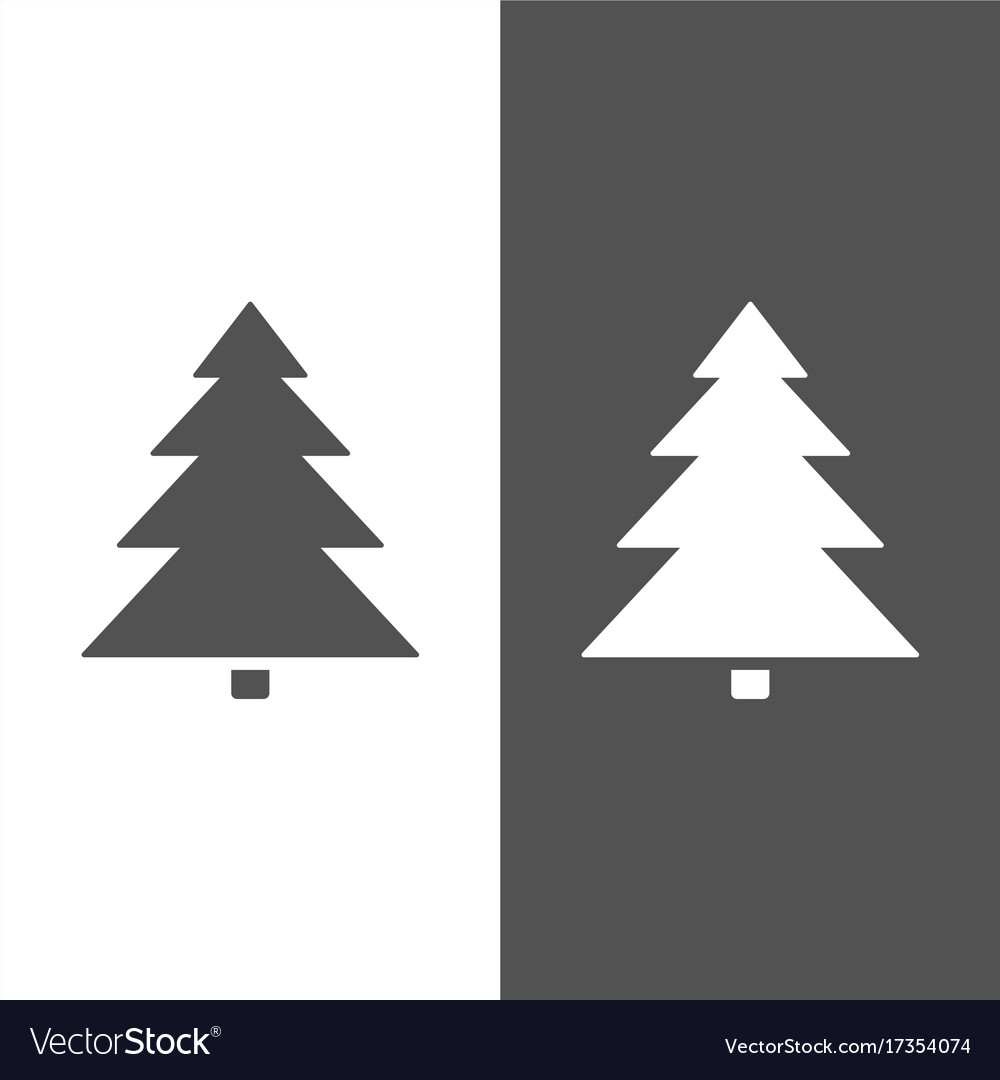 Isolated Christmas Tree Icon On Black And White