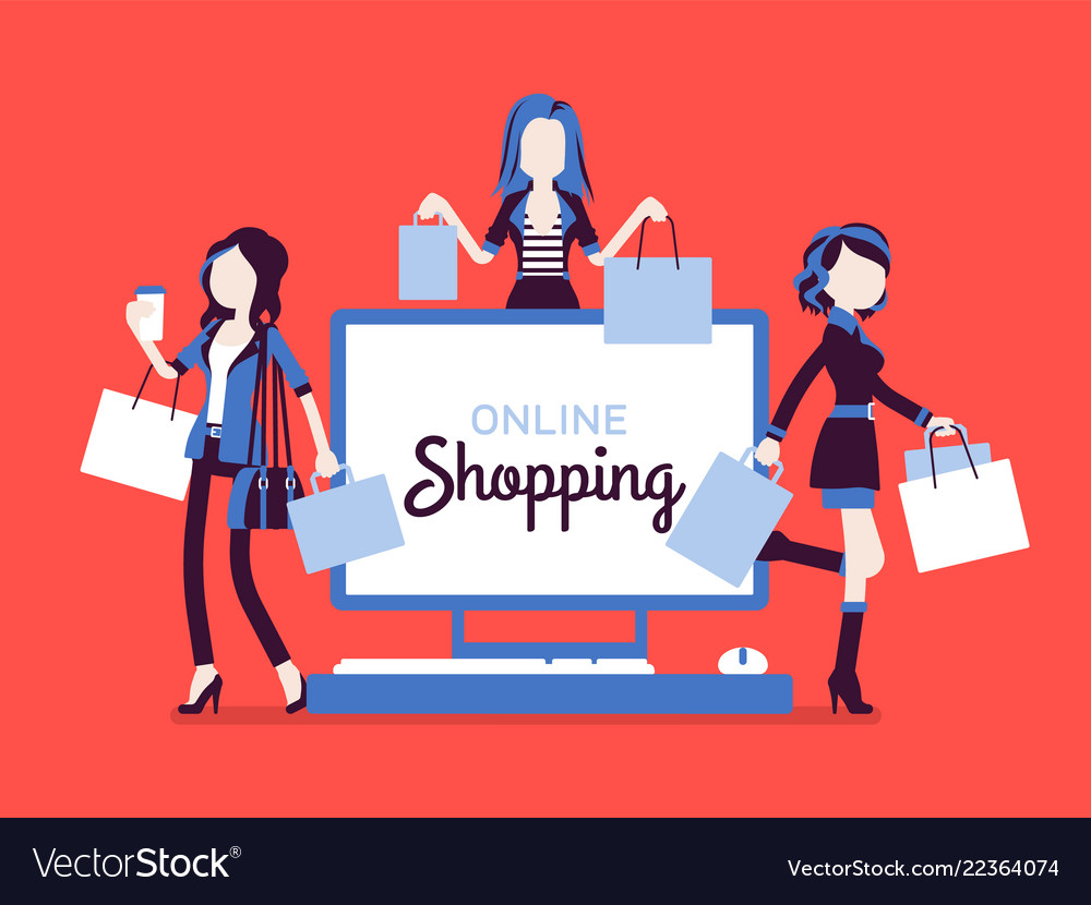 Online shopping banner with happy women
