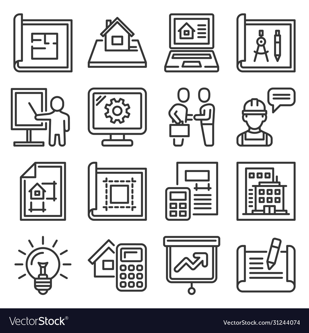 Project and building design icons set line style