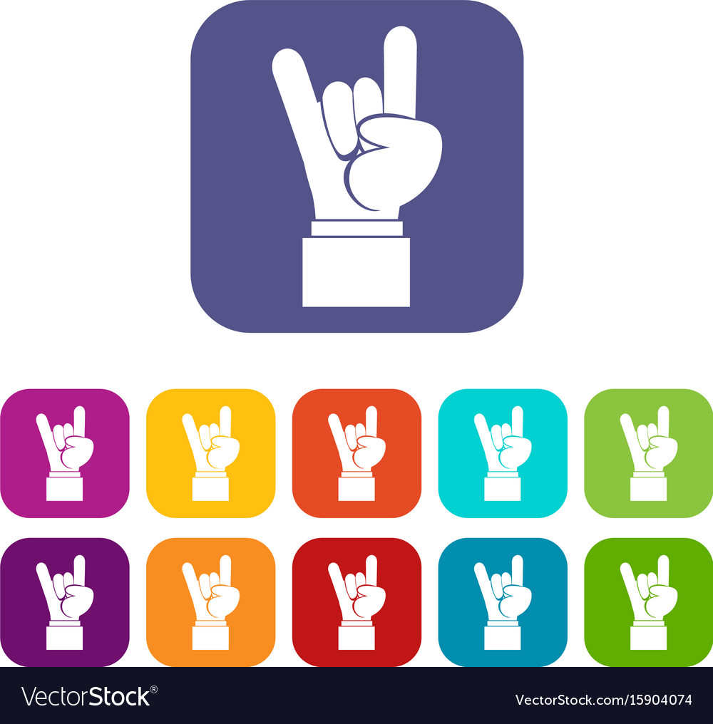 a2159c05b Rock and roll hand sign icons set Royalty Free Vector Image