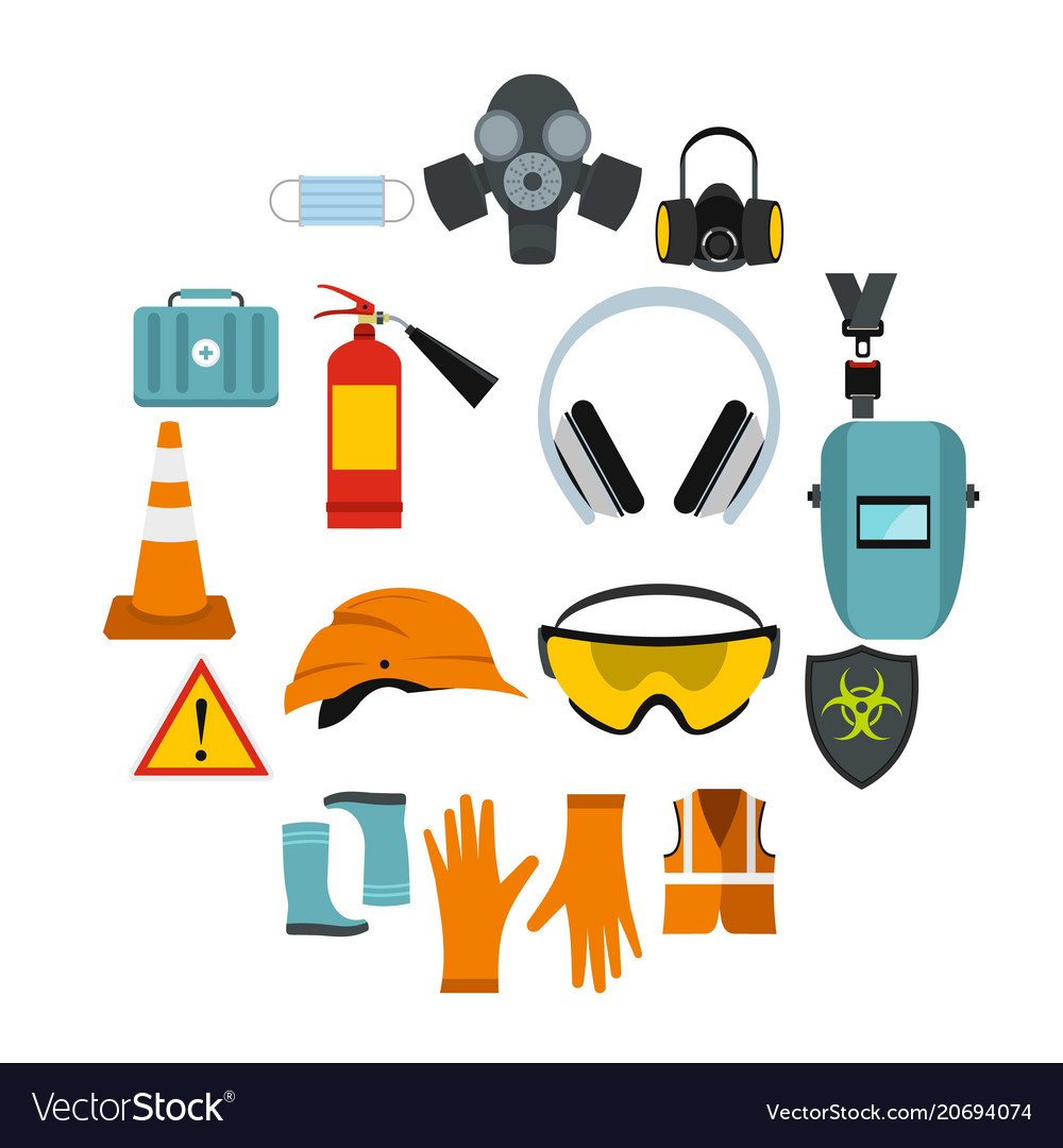 safety icons set flat style royalty free vector image